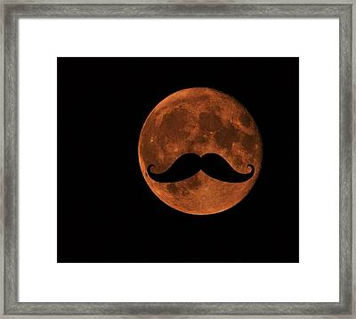 Mustache Moon Framed Print by Marianna Mills