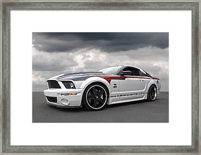 Mustang Gt With Flame Graphics Framed Print by Gill Billington