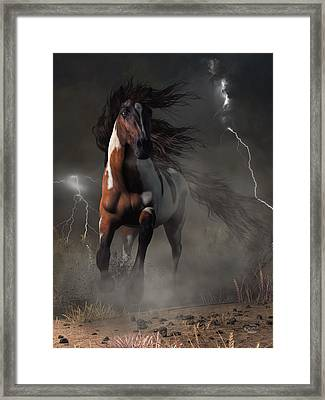 Mustang Horse In A Storm Framed Print by Daniel Eskridge