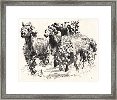Mustangs Of Las Colinas Framed Print by David Clemons