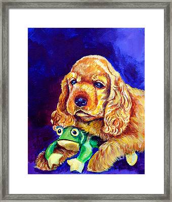 My Froggy - Cocker Spaniel Puppy Framed Print by Lyn Cook