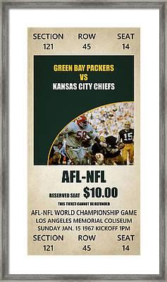 My Green Bay Packers Superbowl Ticket Framed Print by Joe Hamilton