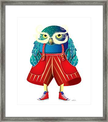 My Owl Red Pants Framed Print by Isabel Salvador