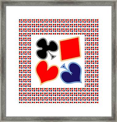 My Poker Room Decorations  Heart Spade Clubs Diamond Card Games Collection Framed Print by Navin Joshi