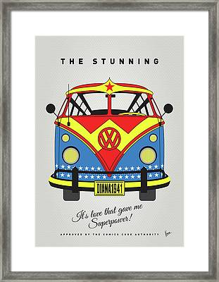 My Superhero-vw-t1-supermanmy Superhero-vw-t1-wonder Woman Framed Print by Chungkong Art