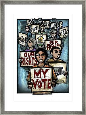 My Vote Framed Print by Ricardo Levins Morales
