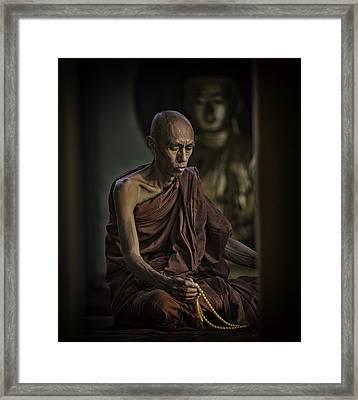 Myanmar Monk Reflections 3 Framed Print by David Longstreath