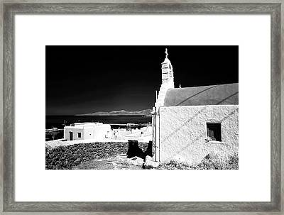 Mykonos Church Overlooking The Town Infrared Framed Print by John Rizzuto