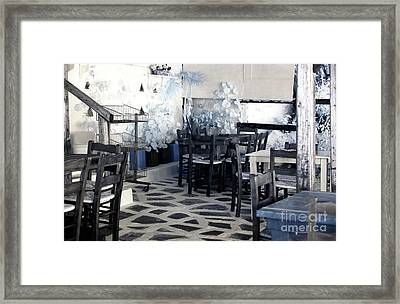 Mykonos Town Cafe Infrared Framed Print by John Rizzuto