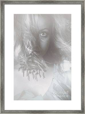 Mysterious Fine Art Fantasy Woman In Forest Mist Framed Print by Jorgo Photography - Wall Art Gallery