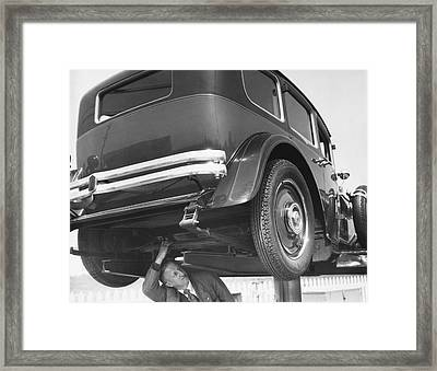 Mystery Front Wheel Drive Car Framed Print by Underwood Archives