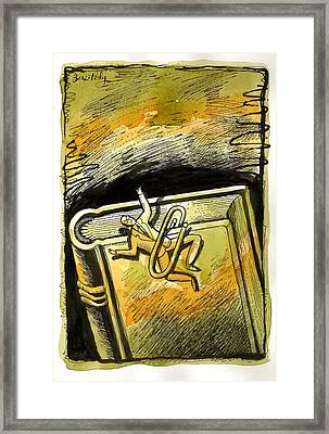 Mystery Of Man And A Book Framed Print by Leon Zernitsky