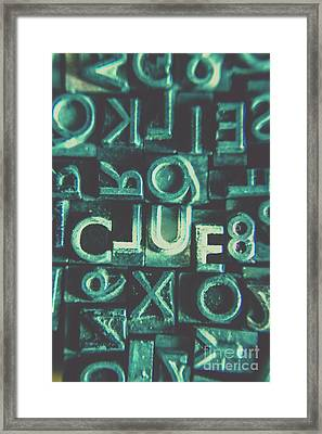 Mystery Writer Clue Framed Print by Jorgo Photography - Wall Art Gallery
