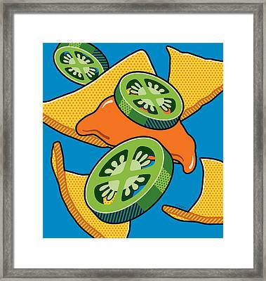 Nachos On Blue Framed Print by Ron Magnes
