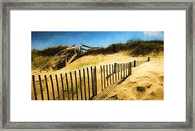 Nags Head Fence Framed Print by Robert Meyerson