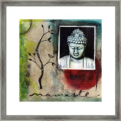 Namaste Buddha Framed Print by Linda Woods