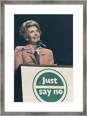 Nancy Reagan Speaking At A Just Say No Framed Print by Everett