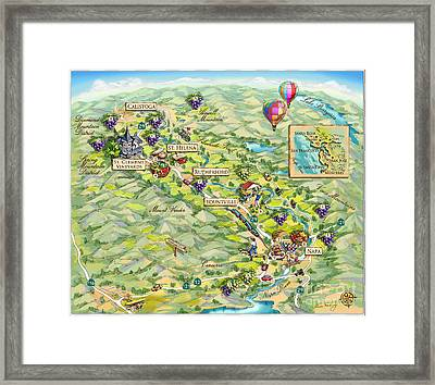 Napa Valley Illustrated Map Framed Print by Maria Rabinky