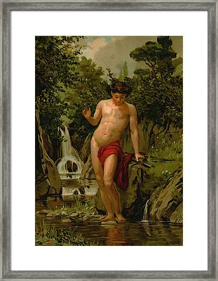 Narcissus In Love With His Own Reflection Framed Print by Dionisio Baixeras-Verdaguer