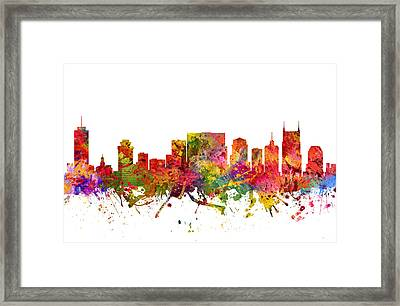 Nashville Cityscape 08 Framed Print by Aged Pixel