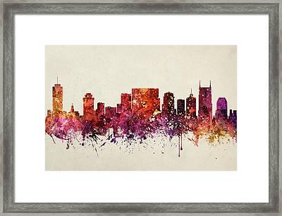 Nashville Cityscape 09 Framed Print by Aged Pixel