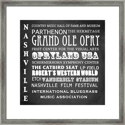 Nashville Famous Landmarks Framed Print by Patricia Lintner