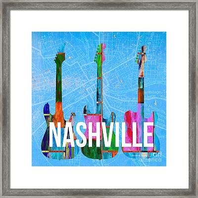 Nashville Guitars Framed Print by Edward Fielding