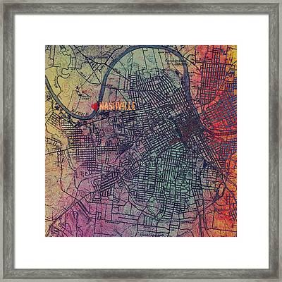 Nashville Heart Map Framed Print by Brandi Fitzgerald