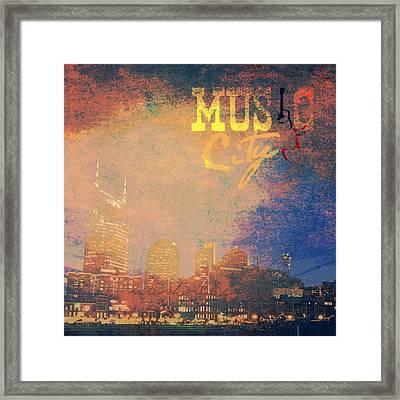 Nashville Music City Framed Print by Brandi Fitzgerald