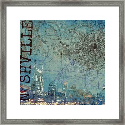 Nashville Skyline Map Framed Print by Brandi Fitzgerald
