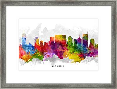 Nashville Tennessee Cityscape 13 Framed Print by Aged Pixel