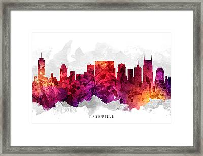 Nashville Tennessee Cityscape 14 Framed Print by Aged Pixel