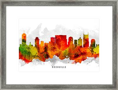 Nashville Tennessee Cityscape 15 Framed Print by Aged Pixel