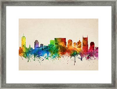 Nashville Tennessee Skyline 05 Framed Print by Aged Pixel