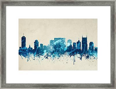 Nashville Tennessee Skyline 20 Framed Print by Aged Pixel