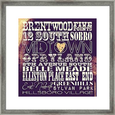 Nashville Tn V4 Framed Print by Brandi Fitzgerald