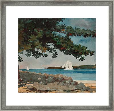 Nassau   Water And Sailboat Framed Print by Winslow Homer