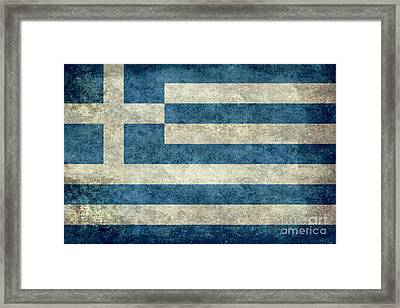 National Flag Of Greece With Worn Weathered Distressed Treatment Framed Print by Bruce Stanfield