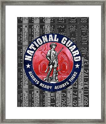 National Guard United States Logo Recycled Vintage License Plate Art Framed Print by Design Turnpike
