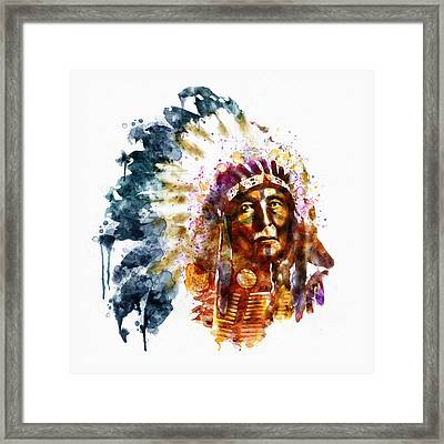 Native American Chief Framed Print by Marian Voicu