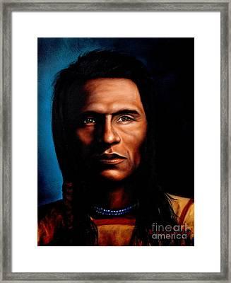 Native American Indian Soaring Eagle Framed Print by Georgia Doyle  brushhandle