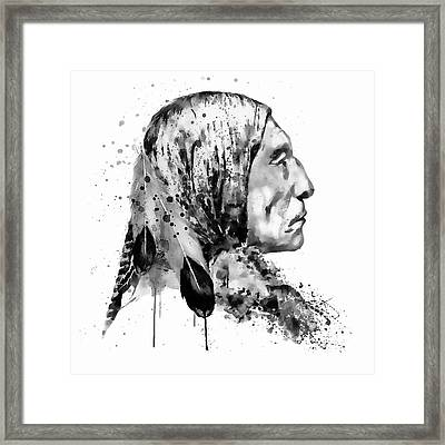 Native American Side Face Black And White Framed Print by Marian Voicu