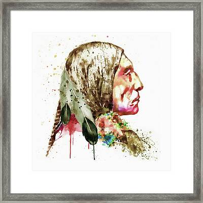 Native American Side Face Framed Print by Marian Voicu