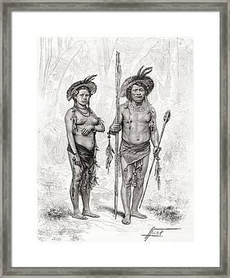 Native Indians From Rio Branco, South Framed Print by Vintage Design Pics
