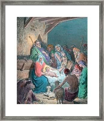 Nativity Scene Framed Print by Gustave Dore