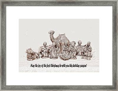 Nativity Scene In Sepia Framed Print by Linda Phelps