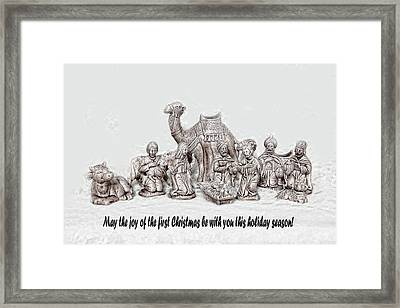 Nativity Scenne Sketch Framed Print by Linda Phelps