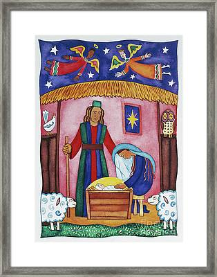 Nativity With Angels Framed Print by Cathy Baxter