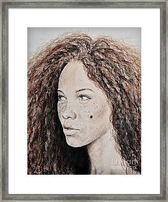 Natural Beauty With Red Hair Version II Framed Print by Jim Fitzpatrick