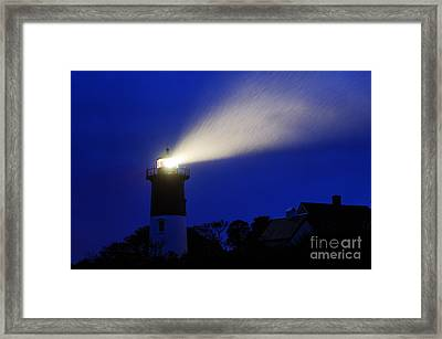 Nauset Light Storm Framed Print by John Greim